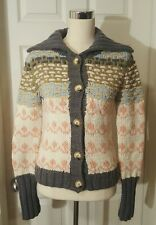 Moth Anthropologie Sweater Cardigan Thick Woven Sailor Shawl Collar