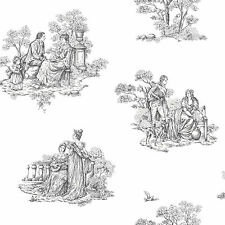 Vintage Toile de Jouy Antiguo árboles Jardín Flores Floral Blanco Negro Wallpaper