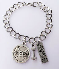 Dumbbell 45lb Strong is Beautiful Charm BRACELET * Fitness Crossfit