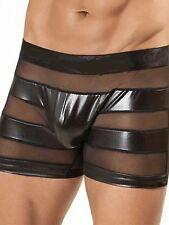 Sexy Mens Black Faux Latex Look Briefs with See Through Mesh Panels
