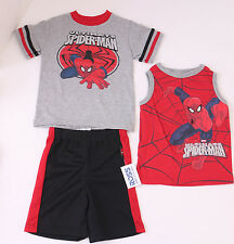 NEW MARVEL Boys Size 3 SPIDER-MAN 3-Piece Outfit ( 2 Tops & 1 Shorts) Grey Red