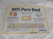 Old Vtg 1979 McDONALDS Fast Food RESTAURANT ADVERTISING MENU 100% Pure Beef