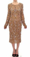 NWT $26000 DOLCE & GABBANA Beige Lace SPECIAL Swarovski Crystal Dress IT40 / US6