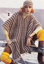 EASY RETRO PONCHO & HAT / chunky or 12ply -  Ladies knitting pattern