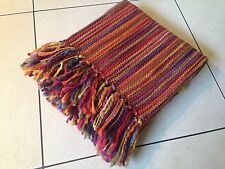 TERRACOTTA MULTI COLOURED FRINGED THROW BLANKET Moroccan 127x152cm Next Day Desp