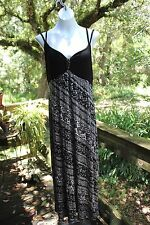 Lena womens maxi dress Sz 18/20 spaghetti strap black & white rhinestone