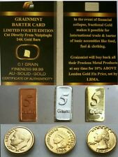 LOTTO DI 4 LINGOTTI D'ORO PURO 24K CERTIFICATO GOLD D'ARGENTO IN RAME E 3 MONETE