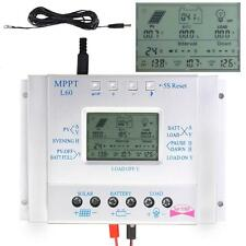 60A Solar Panel Charge Control 12V 24V Battery Regulator + Extension Cable US TR