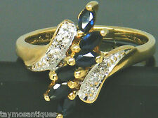 10k Gold vintage sapphire and diamond ladies ring size  N  Maker  THL  Boxed
