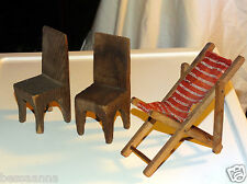 2 Antique Vintage Old Carved Wood Dollhouse Doll House Chair Toy AD9211312-789