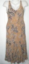DIANE VON FURSTENBERG silk sleeveless long peach palm Piaretta DRESS & slip 12