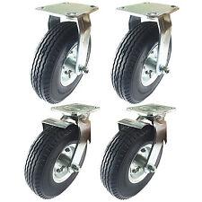 """8"""" x 2-1/2"""" Pneumatic Wheel Caster(Foam-Flat Free)-2 Rigids & 2 Swivels w/Brake"""