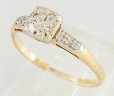 VINTAGE ESTATE 14K GOLD OEC 1/2C DIAMOND ENGAGEMENT RING