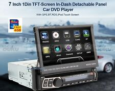 "Single 1 DIN 7"" HD Flip Up GPS Navigation Car Stereo CD DVD MP3 Player Map Radio"