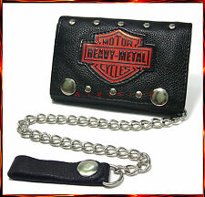 "MOTORCYCLE BIKER LEATHER TRUCKER WALLET WITH CHAIN MOTO HEAVY-METAL 4.5""  #177"