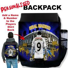 Personalised REAL MADRID New Men Black Backpack Football School Sports Bag Gift