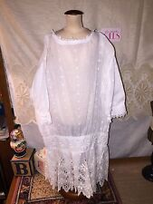 Beautiful vintage embroidered eyelet drop waist dress for antique doll