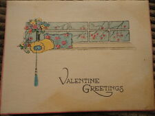 Valentine Greetings Card Pillows at a Window Poem Used Vintage