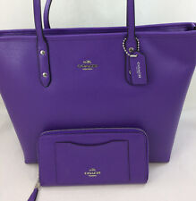 New Coach F36875 Leather City Zip Tote Handbag Purse Shoulder Bag Purple +Wallet