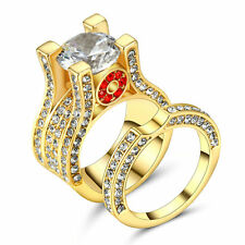 Gorgeous Wedding White Sapphire Ring Set 10KT yellow Gold Filled Jewelry Size 6