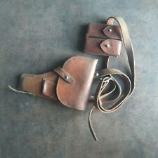 ORIGINAL OLD SET CHINESE TYPE 54 PISTOL BROWN LEATHER HOLSTER WITH AMMO POUCH