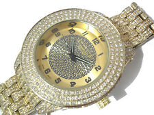 Iced Out Bling Bling Big Case Hip Hop Techno King Men's Watch Gold Item 1847