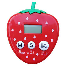 JAPANESE Kitchen Timer Magnetic Back 6.5cm Tall Strawberry English Buttons