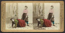 "Two ""Risqué Girls"" PLAYING WHEELBARROW – Hand Colored – Stereoview Card"