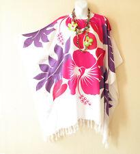 NWT White Batik Floral Plus Size Floral Kaftan Tunic Blouse Top -XL, 1X, 2X & 3X