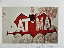 "Andy Warhol, ""BATMAN"" Hand Signed Print in Blue pen, 1979 with COA"