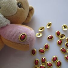 10pcs Red Stone Gold Cameo Metal Deco Charms Nail Art MD-424