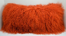 Real Tangerine Orange MongolianTibetan Lamb Fur Pillow New made in USA cushion