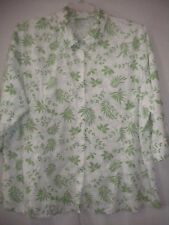 d & co Denim & Company Plus Size 2X Green and white floral Button Women Shirt