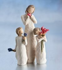 Willow Tree Mother with 2 Daughters with Flowers Figurines NEW in Boxes 23617