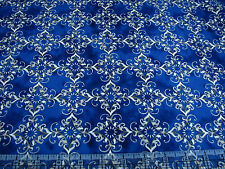 3 Yards Quilt Cotton Fabric - Clothworks Roosters Filigree Diamonds Blue