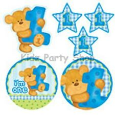 I'm One Boy's 1st Birthday Bear Party - 6 Card Cutout Decorations - FREE POST