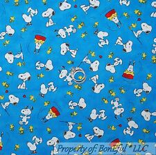 BonEful Fabric FQ Cotton Quilt Blue Snoopy Yellow Woodstock Dog Red Heart S Love