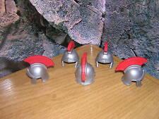 (B 11/10) 5 cascos romanos plata con resorte rojo legionario tribuno Centurion
