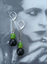 ART DECO VINTAGE BLACK & GREEN  BAKELITE & CZECH GLASS EARRINGS