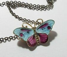 Butterfly Necklace Enamel Sterling Signed CX Norway Purple Blue Mauve 9013
