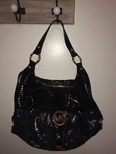 Michael Kors Micheal Black Snakeskin Purse Handbag Shoulder Bag Medium Mint!!!