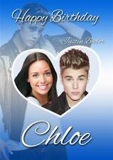 PERSONALISED JUSTIN BIEBER PHOTO BIRTHDAY CARD