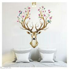 3D Plum flower deer Wall Stickers For living room Home Decor DIY Removable Mural