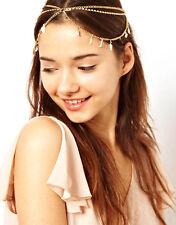 Fashion Women Jewelry Rhinestone Gold Metal Chain Leaf Forehead Hair Band