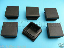 6 x Plastic End Caps 30mm x 30mm Square Ribbed Inserts - Trailer - Tubes etc