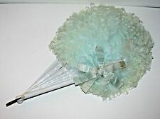 Powder Blue Victorian Hand Fan Curly Ostrich Feather / Satin Ribbon Pearl Button