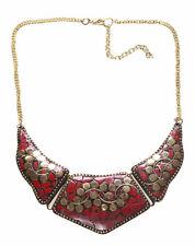 Majestuosa piedra roja y manchas de oro 3 piezas babero & Necklace(Ns10) Gancho ajustable