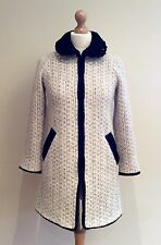TOPSHOP CREAM BLACK COAT SIZE 6 BOUCLE WOOL MOHAIR MIX PETER PAN COLLAR