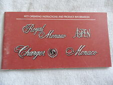 1977 Dodge Charger - Aspen - Monaco Owners Manual