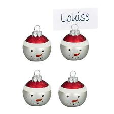 Premier Christmas Set of 4 Glass Bauble Table Name Place Card Holder - Snowman